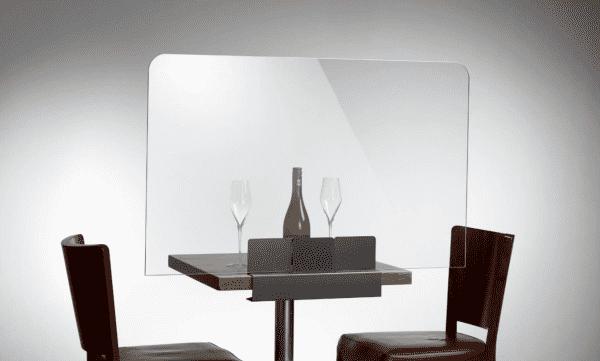 Restaurant Tischschutz mit Klemm-Fuß Breite 750 mm